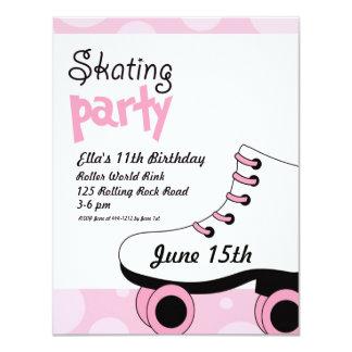 """La fiesta de cumpleaños de los chicas del patinaje invitación 4.25"""" x 5.5"""""""