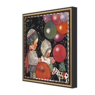La fiesta de cumpleaños de los niños del vintage h lona estirada galerías