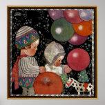 La fiesta de cumpleaños de los niños del vintage h posters