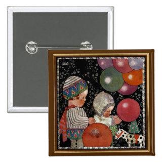 La fiesta de cumpleaños de los niños del vintage pin cuadrada 5 cm