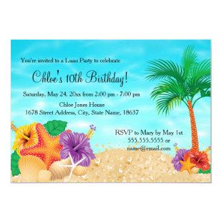 """La fiesta de cumpleaños de Luau de la flor de Invitación 5"""" X 7"""""""