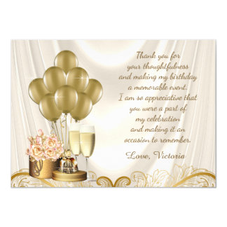 """La fiesta de cumpleaños de marfil del oro de la invitación 4.5"""" x 6.25"""""""