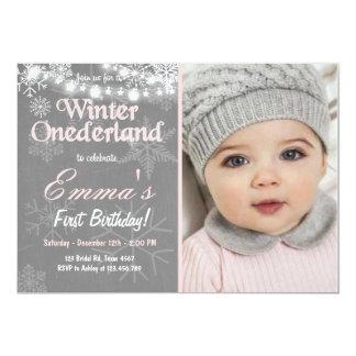 """La fiesta de cumpleaños de Onederland del invierno Invitación 5"""" X 7"""""""