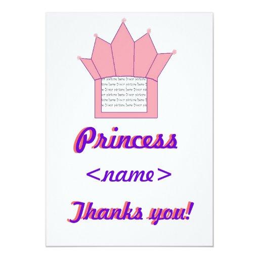 La fiesta de cumpleaños de princesa Crown First le Invitación 12,7 X 17,8 Cm