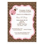 la fiesta de cumpleaños de señora Bug de 5x7 Brown Invitacion Personalizada