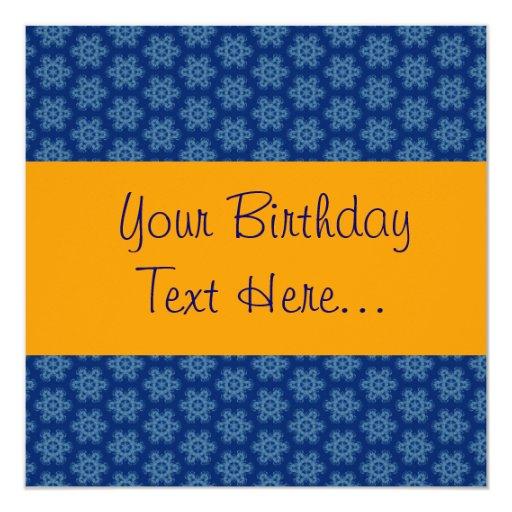 La fiesta de cumpleaños del azul y del oro invita invitación 13,3 cm x 13,3cm