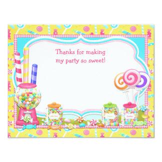 """La fiesta de cumpleaños del caramelo le agradece invitación 4.25"""" x 5.5"""""""