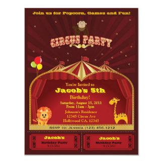 """La fiesta de cumpleaños del circo del niño invita invitación 4.25"""" x 5.5"""""""