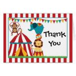 La fiesta de cumpleaños del circo le agradece card tarjetas