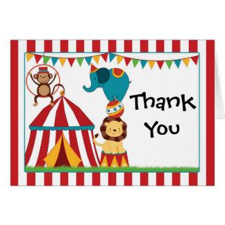 La fiesta de cumpleaños del circo le agradece tarjeta pequeña