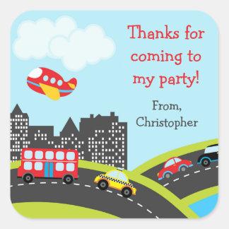 La fiesta de cumpleaños del coche le agradece los pegatina cuadrada