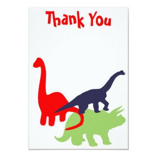 """La fiesta de cumpleaños del dinosaurio le agradece invitación 3.5"""" x 5"""""""