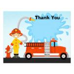 La fiesta de cumpleaños del Firetruck le agradece  Invitacion Personalizada
