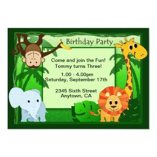 """La fiesta de cumpleaños del tema de la selva invitación 5"""" x 7"""""""