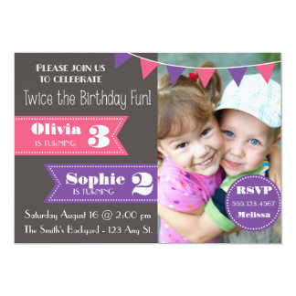 """La fiesta de cumpleaños doble invita (chica/el invitación 5"""" x 7"""""""