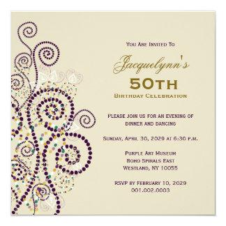 """La fiesta de cumpleaños elegante de los espirales invitación 5.25"""" x 5.25"""""""
