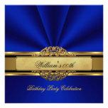 La fiesta de cumpleaños elegante del oro del azul  invitacion personalizada
