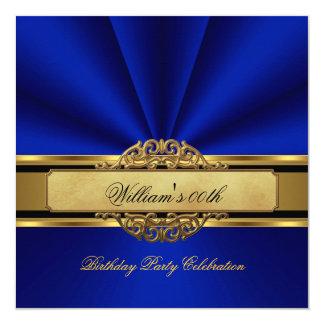 """La fiesta de cumpleaños elegante del oro del azul invitación 5.25"""" x 5.25"""""""