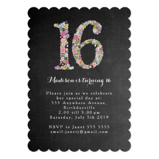 La fiesta de cumpleaños floral del dulce 16 de la invitación 12,7 x 17,8 cm