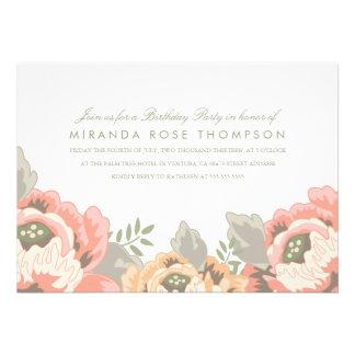 La fiesta de cumpleaños floral del vintage invita invitacion personal
