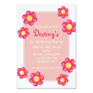 """La fiesta de cumpleaños invita a la flor linda invitación 3.5"""" x 5"""""""