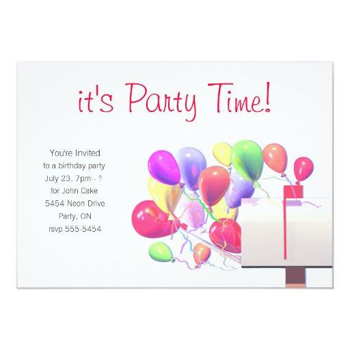 """La fiesta de cumpleaños invita al correo del globo invitación 5"""" x 7"""""""