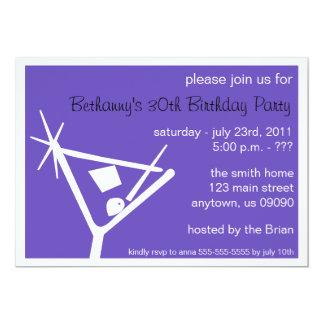 """La fiesta de cumpleaños invita al vidrio de invitación 5"""" x 7"""""""