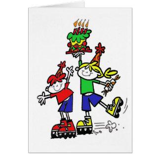 La fiesta de cumpleaños invita con los patinadores tarjeta de felicitación