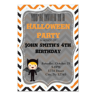 """La fiesta de cumpleaños linda de Halloween invita Invitación 3.5"""" X 5"""""""