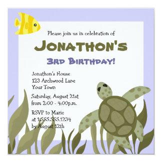 """La fiesta de cumpleaños linda de la tortuga de mar invitación 5.25"""" x 5.25"""""""
