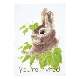 """La fiesta de cumpleaños linda del conejo de invitación 5"""" x 7"""""""