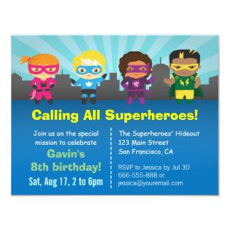 """La fiesta de cumpleaños linda del super héroe invitación 4.25"""" x 5.5"""""""