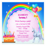 La fiesta de cumpleaños linda del unicornio, del a invitacion personalizada