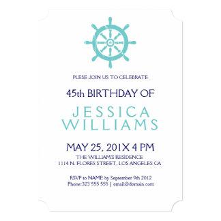 """La fiesta de cumpleaños náutica de la rueda del invitación 5"""" x 7"""""""
