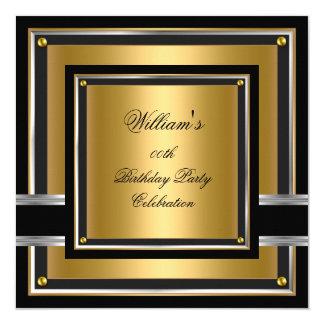 """La fiesta de cumpleaños negra elegante de la plata invitación 5.25"""" x 5.25"""""""