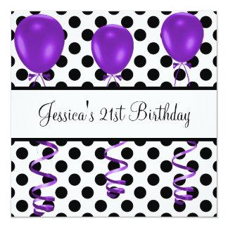 La fiesta de cumpleaños negra y el blanco mancha invitación 13,3 cm x 13,3cm