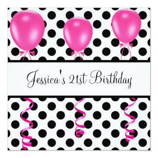 """La fiesta de cumpleaños negra y el blanco mancha invitación 5.25"""" x 5.25"""""""