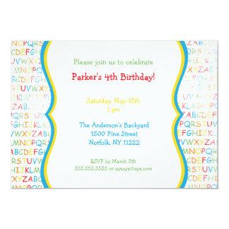 """La fiesta de cumpleaños primaria del alfabeto invitación 5"""" x 7"""""""