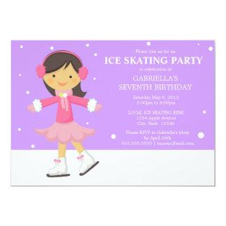 """La fiesta de cumpleaños púrpura del patinaje de invitación 5"""" x 7"""""""