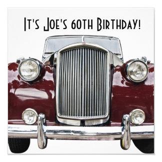 """La fiesta de cumpleaños retra clásica del coche invitación 5.25"""" x 5.25"""""""