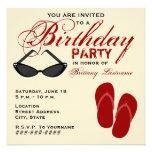 La fiesta de cumpleaños retra invita a las gafas comunicados personales