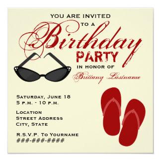 """La fiesta de cumpleaños retra invita a las gafas invitación 5.25"""" x 5.25"""""""
