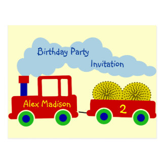 La fiesta de cumpleaños roja del tractor de granja postales