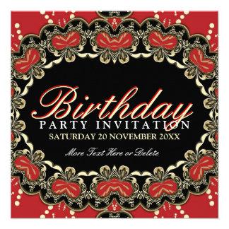 La fiesta de cumpleaños roja exótica del cordón de invitación