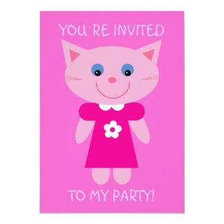 """La fiesta de cumpleaños rosada bonita del gato invitación 5"""" x 7"""""""