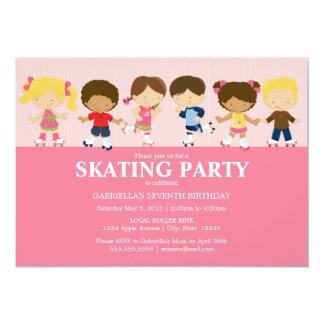 """La fiesta de cumpleaños rosada de los patinadores invitación 5"""" x 7"""""""