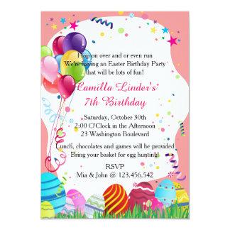 """La fiesta de cumpleaños rosada de pascua domingo invitación 5"""" x 7"""""""
