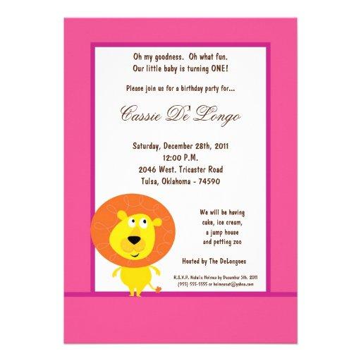 la fiesta de cumpleaños rosada del león 5x7 invita comunicados personalizados