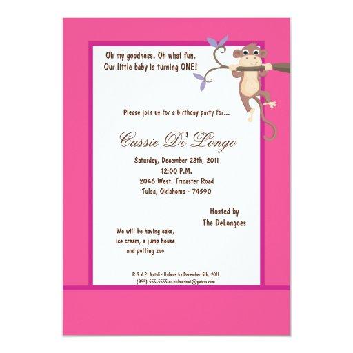"""la fiesta de cumpleaños rosada del mono 5x7 invita invitación 5"""" x 7"""""""