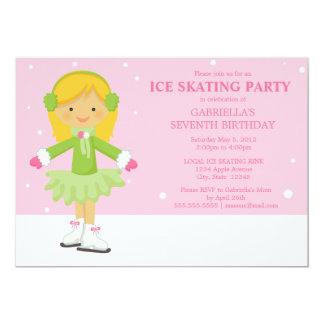"""La fiesta de cumpleaños rosada del patinaje de invitación 5"""" x 7"""""""